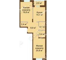 2 комнатная квартира 76,8 м² в ЖК Монолит, дом № 89, корп. 1, 2