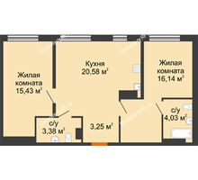 2 комнатная квартира 62,81 м² в ЖК Тесла Парк, дом ГП-2 - планировка