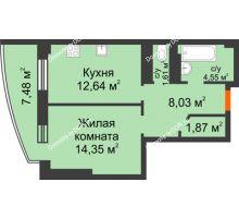 1 комнатная квартира 45,29 м² в ЖК Звезда, дом № 1 - планировка
