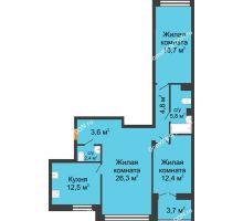 3 комнатная квартира 86,4 м² - ЖК Дом на 17-й Линии, 3