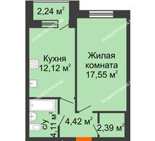 1 комнатная квартира 41,71 м² - Дом на Чаадаева