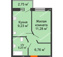 1 комнатная квартира 33,87 м² в ЖК Артемовский квартал, дом Секция 9 - планировка