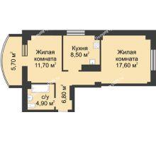 2 комнатная квартира 55,19 м², ЖК Крепостной вал - планировка