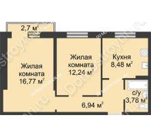 2 комнатная квартира 49,05 м² в ЖК Тридесятое, дом № 23 - планировка