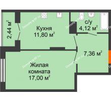 1 комнатная квартира 42,72 м² в ЖК Рассвет, дом № 8 - планировка