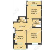 2 комнатная квартира 77,28 м² в ЖК Воскресенская слобода, дом №1 - планировка