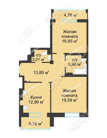 2 комнатная квартира 77,28 м² в ЖК Воскресенская слобода, дом №1