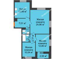 3 комнатная квартира 75,23 м² - Дом на Чаадаева