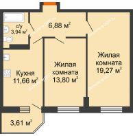 2 комнатная квартира 56,63 м² в ЖК Свобода, дом № 1 - планировка