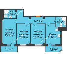 3 комнатная квартира 83,05 м² в ЖК Горизонт, дом № 2 - планировка