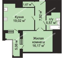 1 комнатная квартира 52,88 м², ЖК Гелиос - планировка