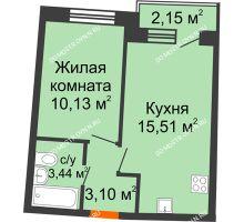 1 комнатная квартира 33,48 м² в ЖК Ватсон, дом № 3А - планировка