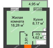 1 комнатная квартира 36,47 м², ЖК Новая Жизнь - планировка