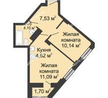 2 комнатная квартира 38,33 м², ЖК Каскад на Волжской - планировка