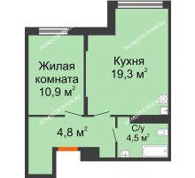 1 комнатная квартира 42,7 м² в ЖК Новая Кузнечиха, дом № 31 - планировка