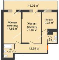 2 комнатная квартира 75 м² в ЖК Боярский двор Премиум, дом 2 очередь - планировка
