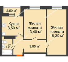 2 комнатная квартира 52,7 м² в ЖК Торпедо, дом № 1