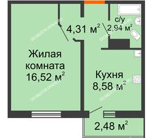 1 комнатная квартира 33,09 м² в ЖК Торпедо, дом № 17 - планировка