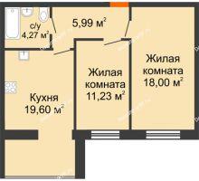 2 комнатная квартира 59,09 м² в ЖК Бунина парк, дом 3 этап, блок-секция 3 С - планировка