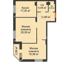 2 комнатная квартира 70,64 м² в ЖК Континент, дом № 16 - планировка