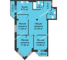 3 комнатная квартира 100,8 м² в ЖК Архиерейская роща, дом № 54б - планировка