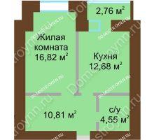 1 комнатная квартира 46,24 м² в ЖК Солнечный город, дом на участке № 214