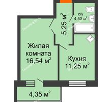 1 комнатная квартира 38,89 м², ЖК Abrikos (Абрикос) - планировка