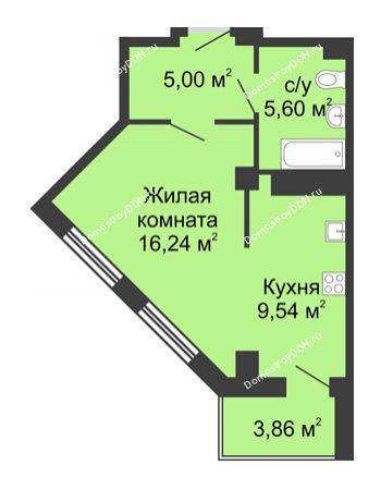 Студия 38,31 м² в ЖК Мега, дом № 2