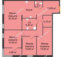 4 комнатная квартира 101,9 м², ЖК Островский - планировка