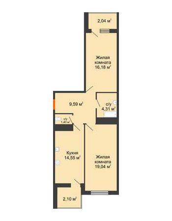 2 комнатная квартира 69,21 м² в ЖК Фамилия, дом Литер 1