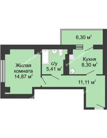 1 комнатная квартира 42,84 м² в ЖК Мега, дом № 2