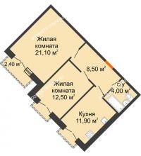 2 комнатная квартира 59,2 м², Жилой дом: г. Дзержинск, ул. Кирова, д.12 - планировка
