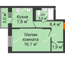 1 комнатная квартира 36,9 м² в ЖК Жюль Верн, дом № 1 корпус 2 - планировка