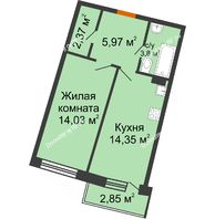 1 комнатная квартира 42,01 м² в ЖК Мандарин, дом 2 позиция 5-8 секция - планировка