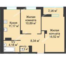 2 комнатная квартира 55,16 м² в ЖК На Вятской, дом № 3 (по генплану)