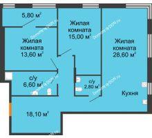 3 комнатная квартира 87,7 м², ЖК Островский - планировка