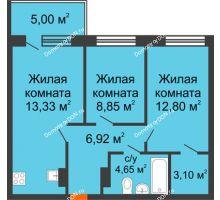 3 комнатная квартира 43,5 м² в ЖК Гвардейский 3.0, дом Секция 3 - планировка
