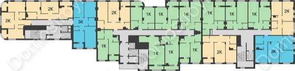 Планировка 3 этажа в доме № 5 в ЖК Караваиха