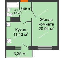 1 комнатная квартира 40,58 м² в ЖК Волжские паруса, дом Б-2-1 - планировка