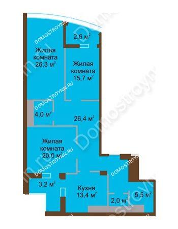 3 комнатная квартира 119,1 м² в ЖК Монолит, дом № 89, корп. 1, 2