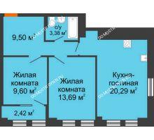 3 комнатная квартира 57,67 м², ЖК Каскад на Менделеева - планировка