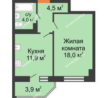 1 комнатная квартира 40,4 м² в ЖК Вересаево, дом Литер 6/2 - планировка