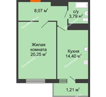 1 комнатная квартира 48,53 м² в ЖК Фамилия, дом Литер 1 - планировка