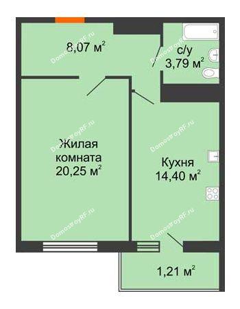 1 комнатная квартира 48,53 м² в ЖК Фамилия, дом Литер 1