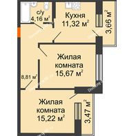 2 комнатная квартира 58,77 м² в ЖК Каскад, дом 7-8 секция - планировка