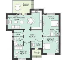 """3 комнатная квартира 140 м² в КП Ясная поляна, дом """"Мюнхен"""" 140 м² - планировка"""