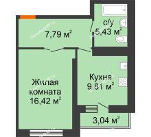 1 комнатная квартира 40,97 м², НЕБО на Ленинском, 215В - планировка