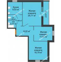 3 комнатная квартира 79,38 м², ЖК Городская 182Б - планировка