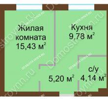 1 комнатная квартира 34,55 м² в ЖК Каменки, дом №14