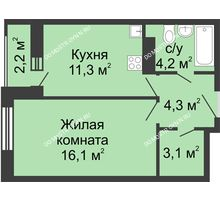 1 комнатная квартира 40,1 м² в ЖК Октава, дом №2 - планировка